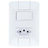 Conjunto Aria 1 Interruptor 6A + 1 Tomada 10A Branco