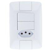 Conjunto Aria 2 Interruptores 6A + 1 Tomada 10A Branco