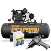 Kit Compressor CHIAPERINI 690 20 Pés 250 Litros Trifásico + Chave de Impacto Pneumática FORTGPRO FG3300 1/2 Pol. + 2 Óleos Lubrificante 1 Litro