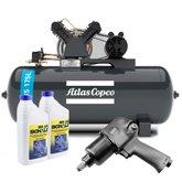 Kit Compressor ATLASCOPCO-AT3/15-175L 15 Pés + 2 Óleos Lubrificante 1 Litro +  Chave Parafusadeira de Impacto Pneumática