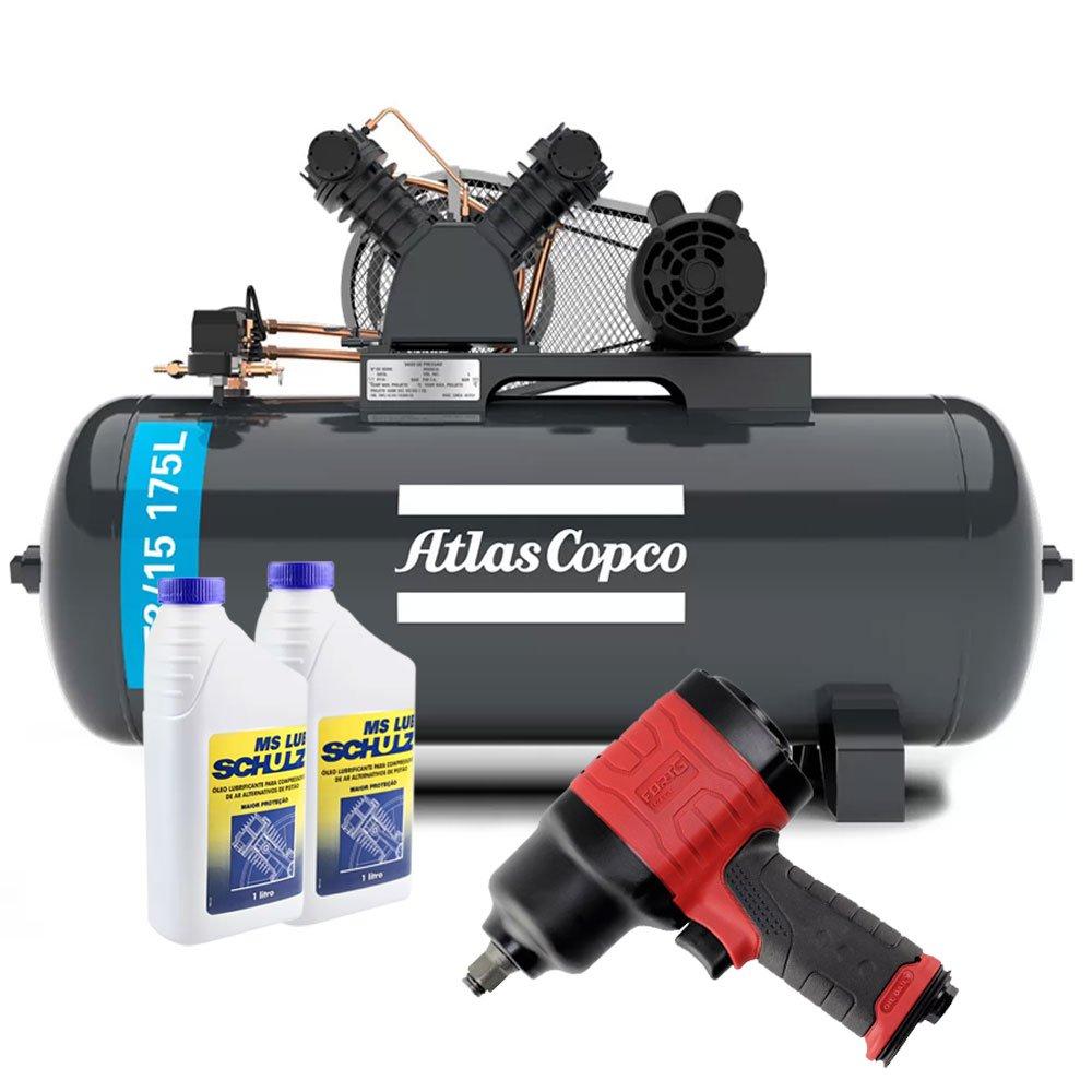 Kit Compressor ATLASCOPCO-AT3/15-175L 15 Pés + 2 Óleos Lubrificante 1 Litro +  Chave Parafusadeira de Impacto Duplo