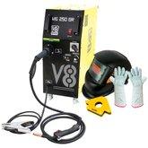 Kit Maquina de Solda MIG 250A 220V V8 Brasil 110473 + Máscara Solda Titanium 5496 + Esquadro Magnético 30kgf Vonder 3599030000 + Luva de Soldador com Cano Longo 20cm Proteplus PPM13