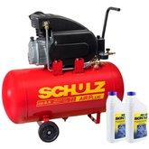 Kit Motocompressor de Ar SCHULZ CSI-8,5/50 8,5 Pés 50L + 2 Óleos Lubrificante SCHULZ-0100011-0 1 Litro