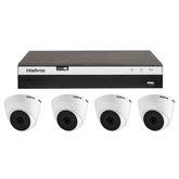 Kit Gravador Digital de Vídeo Multi HD 4 Canais BNC + 2 canais - INTELBRAS-4580330 + Câmera Infra Dome HDCVI 2,8mm 20mm - INTELBRAS-4565303