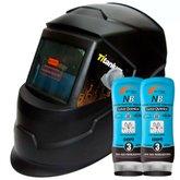 Kit Mascara Solda Automática J300 com Regulagem Ton 9 a 13 New Design - TITANIUM-5246 + 2 Creme Protetor para Pele Luva Química NB Grupo 3 200g - NUTRIEX-0063651