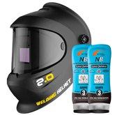 Kit Máscara de Solda Automática com Regulagem 9 a 13 Titanium 5507 + 2 Creme Protetor para Pele Grupo 3 200g Nutriex 0063651