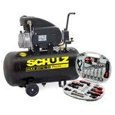 Motocompressor de Ar Pratic Air CSI 8,5 Pés 2HP 50 Litros - SCHULZ-CSI85/50 + Kit de Ferramentas Manuais Hobby com 34 Peças - SCHULZ-927.0006-0