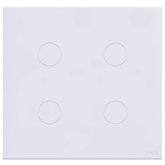 Interruptor Touch Glass em Acrílico Branco com 4 Botões