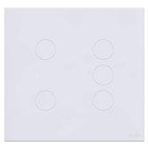 Interruptor Touch Glass em Acrílico Branco com 5 Botões