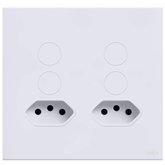 Interruptor Touch Glass em Acrílico Branco com 4 Botões  e 2 Tomadas