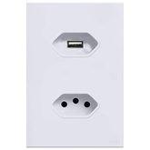 Tomada com Carregador USB 2A 5V em Acrílico Branco