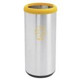 Lixeira Inox com Aro Amarelo e Base Preta 40 Litros