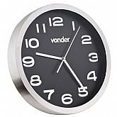 Relógio de Parede Prata com Fundo Preto 360mm