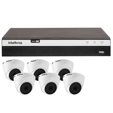 Kit Gravador Digital de Vídeo Multi HD Intelbras 4580331 + 6 Câmeras de Segurança Dome Multi HD 10 Metros Intelbras 4565291