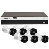 Kit Gravador Digital de Vídeo Multi HD Intelbras 4580331 + 6 Câmeras de Segurança Infravermelho Full HD 20 Metros Intelbras 4565305