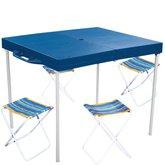 Mesa Prática com Banquetas Azul