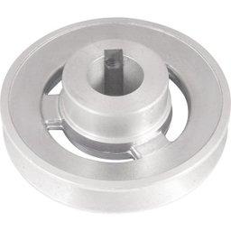 Polia de Alumínio 1 Canal Perfil a 100 mm com Furo de 24 mm
