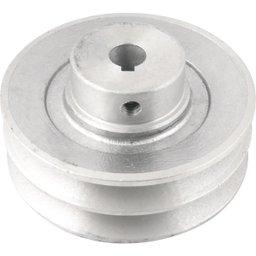 Polia de Alumínio 2 Canais Perfil a 100 mm com Furo de 14 mm