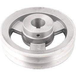Polia de Alumínio 2 Canais Perfil a 150 mm com Furo de 28 mm
