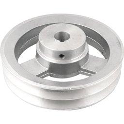 Polia de Alumínio 2 Canais Perfil a 150 mm com Furo de 3/4 Pol. - 19,1 mm