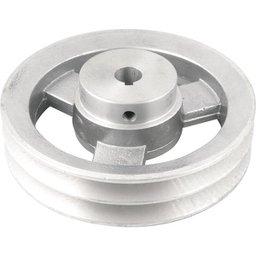 Polia de Alumínio 2 Canais Perfil a 150 mm com Furo de 5/8 Pol. - 15,9 mm