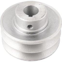 Polia de Alumínio 2 Canais Perfil a 80 mm com Furo de 3/4 Pol. - 19,1 mm