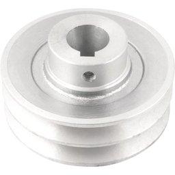 Polia de Alumínio 2 Canais Perfil a 100 mm com Furo de 24 mm