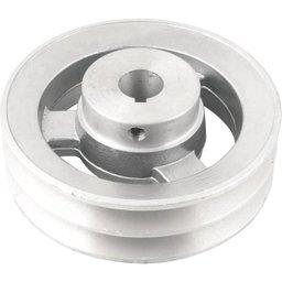 Polia de Alumínio 2 Canais Perfil a 120 mm com Furo de 3/4 Pol. - 19,1 mm