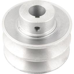 Polia de Alumínio 2 Canais Perfil B 80 mm com Furo de 3/4 Pol. - 19,1 mm
