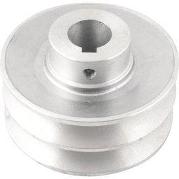 Polia de Alumínio 2 Canais Perfil B 100 mm com Furo de 24 mm