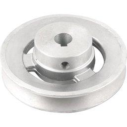 Polia de Alumínio 1 Canal Perfil a 100 mm com Furo de 14 mm