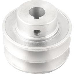 Polia de Alumínio 2 Canais Perfil a 70 mm com Furo de 5/8 Pol. - 15,9 mm