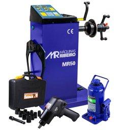 Kit Balanceadora Manual de Rodas 10 a 24 Pol. MR50A + Macaco Hidráulico 16T + Chave Parafusadeira de Impacto Jogo com 13 Peças