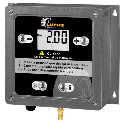 Calibrador de Ar Eletrônico para Pneus 7 a 145 PSI Bivolt com Mangueira 1/4 Pol. e Bico Prendedor
