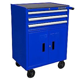 Carrinho Metálico Azul com 3 Gavetas, 2 Portas e Puxador