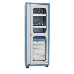 Armario para 40 Cones ISO40 com 5 Gavetas, 2 Bandeja e Porta com Visor de Vidro