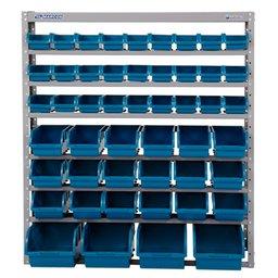 Estante Porta Componentes com 49 Caixas Azuis