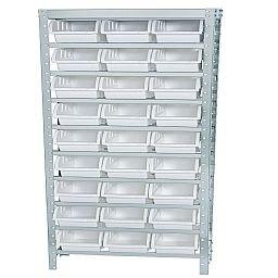 Estante Porta Componentes em Inox com 27 Caixas Brancas Nr. 5