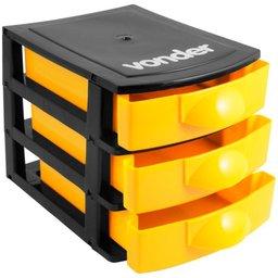 Mini Organizador Plástico com 3 Gavetas Preto/Amarelo