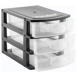 Mini Organizador Plástico com 3 Gavetas Preto/Transparente