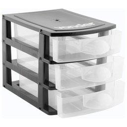 Organizador Plástico com 3 Gavetas Preto/Transparente