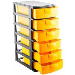 Organizador Plástico com 6 Gavetas Preto/Amarelo