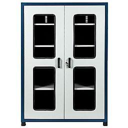 Armário para Ferramentas com 4 Prateleiras Removíveis e Portas com Visor de Vidro