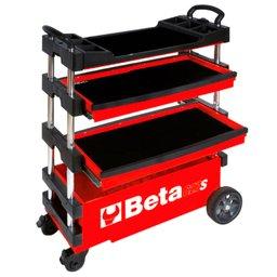 Carro de Ferramentas Tipo Trolley Rebatível Vermelho para Trabalhos ao Ar Livre