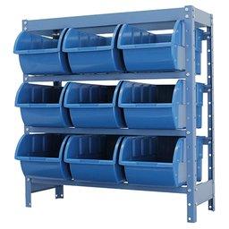 Estante Porta Componentes Azul com 9 Caixas Nr. 7
