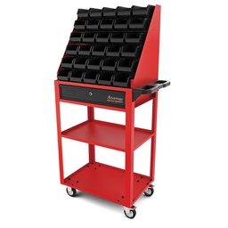 Carro aberto com 30 caixas BIN número 3 vermelho