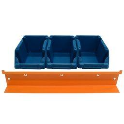 Kit 3 Gavetas Plásticas Nr. 3 Azul com Suporte para Painel de Ferramentas