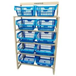 Kit Estante com 10 Cestos Organizadores Azul