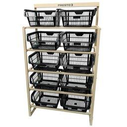 Kit Estante com 10 Cestos Organizadores Preto