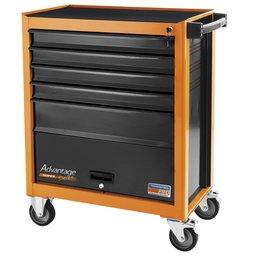 Carro para ferramentas laranja 5 gavetas e 1 porta